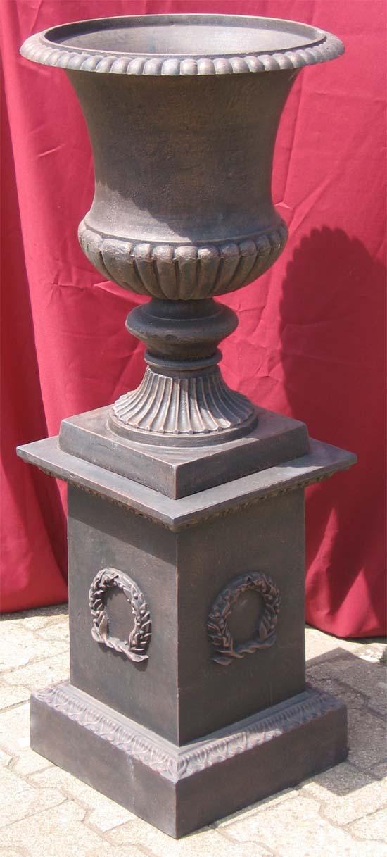 Amphore auf sockel klassischer stil 110cm antik bronze for Klassischer stil
