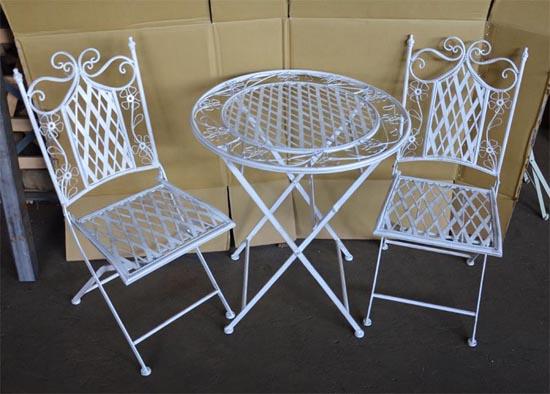bistro set eisen 2x stuhl 1x tisch gartenm bel antik wei ebay. Black Bedroom Furniture Sets. Home Design Ideas