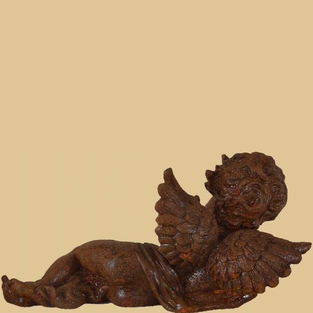 Liegender engel rost mit vogel garten passion for Gartendeko auf rechnung