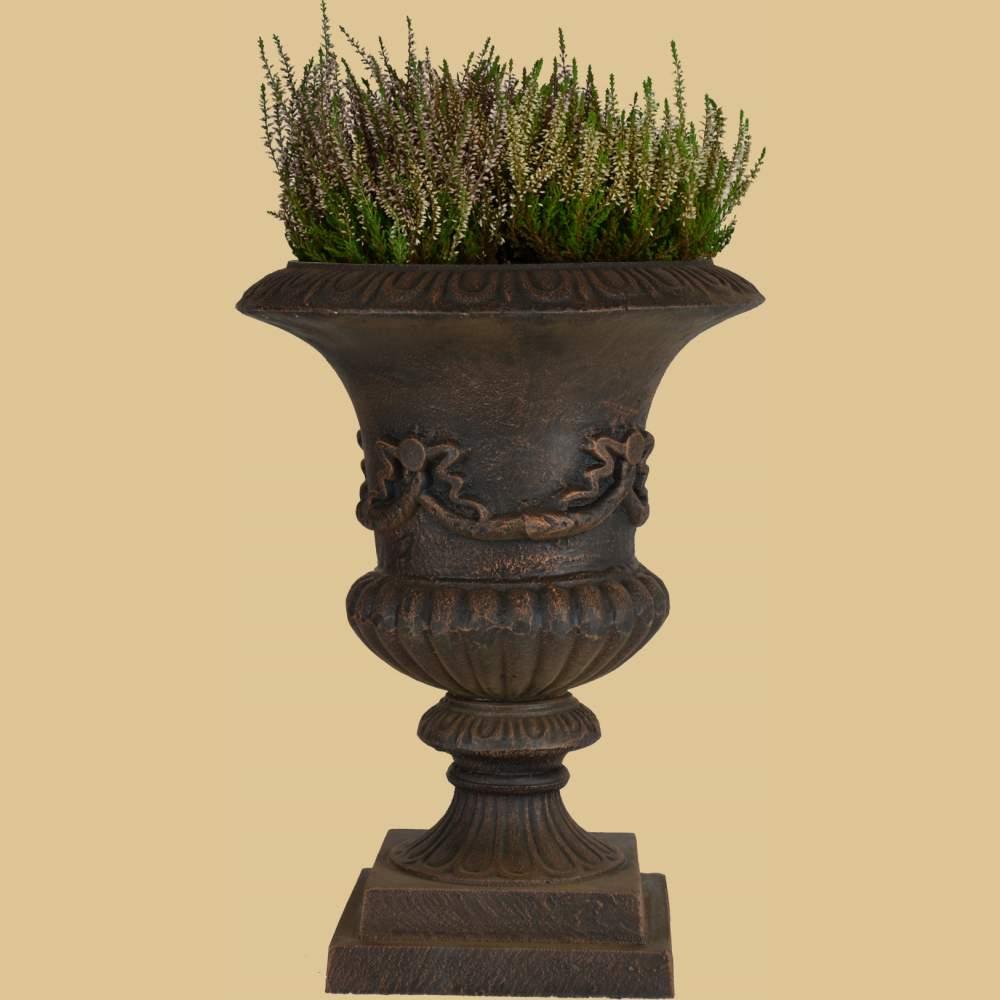 krater vase mit verzierung antik bronze garten passion. Black Bedroom Furniture Sets. Home Design Ideas
