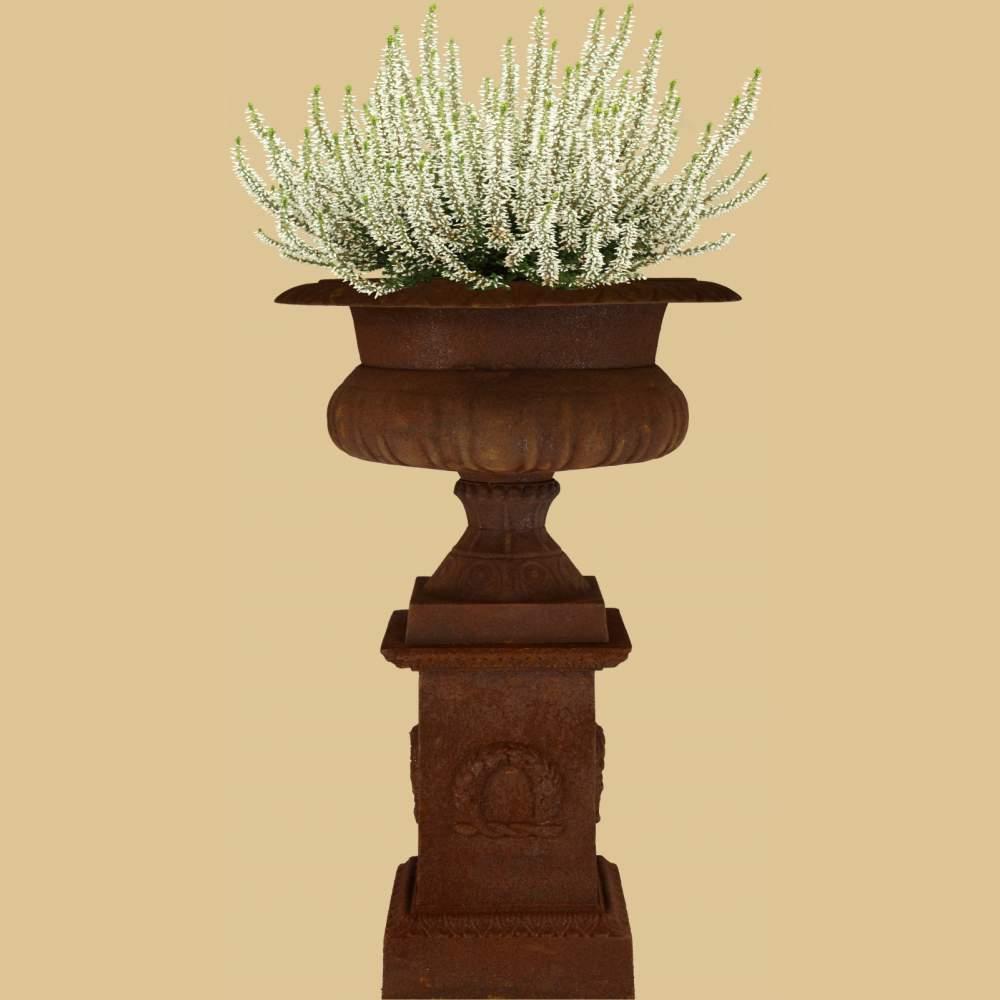 Runde pflanzschale auf sockel mit myrtenkranz antik rost for Gartendeko auf rechnung