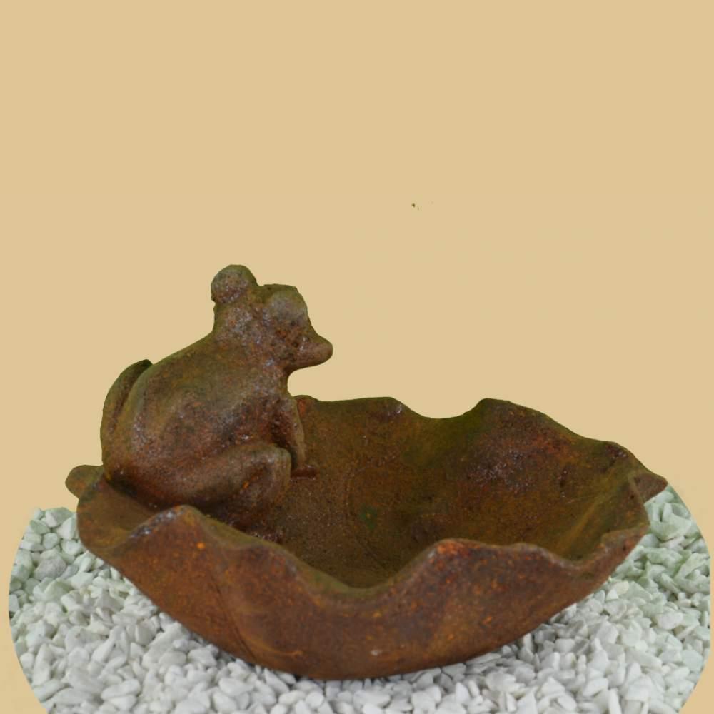 Vogeltränke Frosch auf Seerosenblatt Gusseisen Rostig Vogelbad Antik-Stil