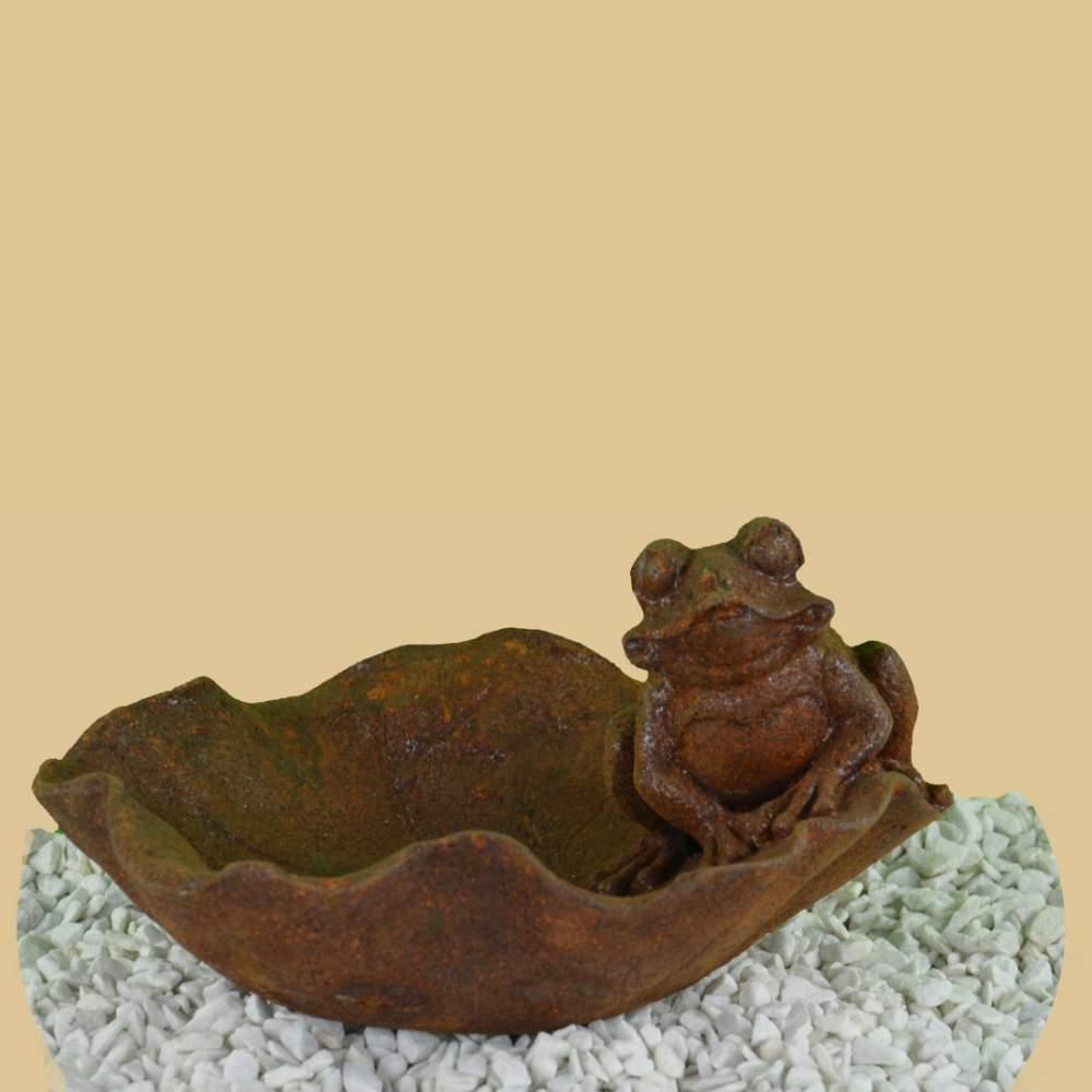 Vogeltränke Frosch mit Becken antik rost | Garten Passion.